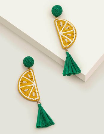 Raffia Tassel Earrings - Lemons | Boden US
