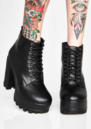 Black Lace Up Platform Boots | Dolls Kill