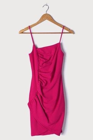 Hot Pink Dress - Ruched Bodycon Dress - Asymmetrical Mini Dress - Lulus