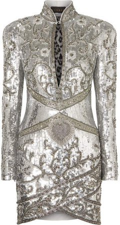 Dundas - Lace-paneled Embellished Silk-georgette Mini Dress - Silver