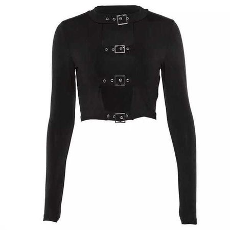 Gothic Sexy Buckle Front Long Sleeve Crop Top