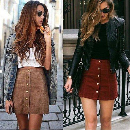 Suede Leather Pocket Preppy Bodycon Mini Skirt