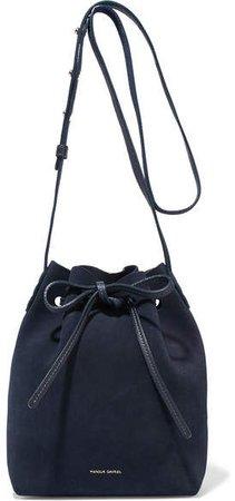 Mini Suede Bucket Bag - Navy