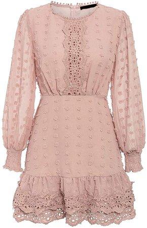 MsLure Women's Elegant Lace Chiffon Mini Dress Lantern Sleeve Ruffle Hem Party Dress at Amazon Women's Clothing store