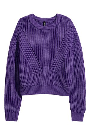 H&M Rib-knit Sweater - Purple