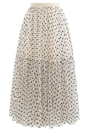 Can't Let Go Dots Mesh Tulle Skirt in Cream - Retro, Indie and Unique Fashion