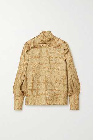 Beige Lima printed silk-faille blouse | The Row | NET-A-PORTER