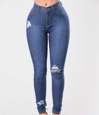 fashion nova ripped destroyed jeans blue