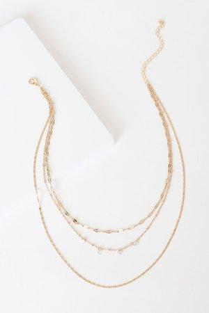 Gold Layered Necklace - Gold Necklace - Rhinestone Necklace - Lulus