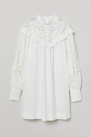 Eyelet Embroidery-detail Dress - White