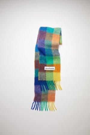 Acne Studios - Large check scarf - Blue/orange/green