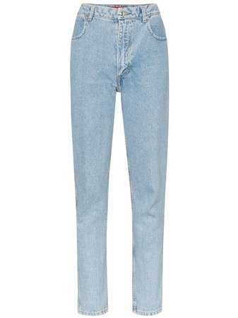 Shop blue Eckhaus Latta high rise straight-leg jeans with Express Delivery - Farfetch