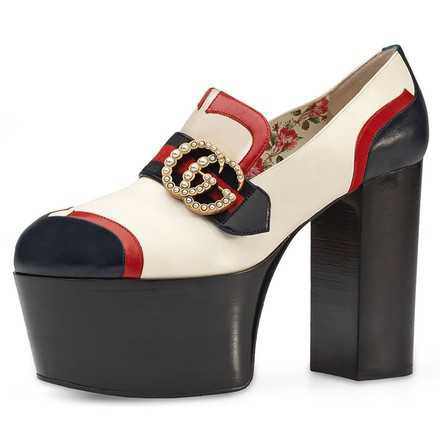Gucci Red / Blue / White Brenda Colorblock Double-g Logo Buckle Loafer Platforms Size EU 38 (Approx. US 8) Regular (M, B) - Tradesy