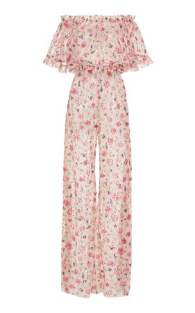Off-The-Shoulder Floral-Print Chiffon Jumpsuit by Luisa Beccaria | Moda Operandi