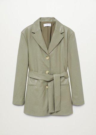 Belt faux-leather blazer - Women | Mango USA