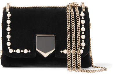Lockett Mini Faux Pearl-embellished Velvet Shoulder Bag - Black