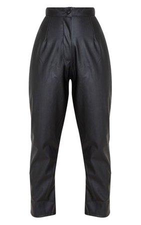 Black Faux Leather Slim Leg Trousers   PrettyLittleThing