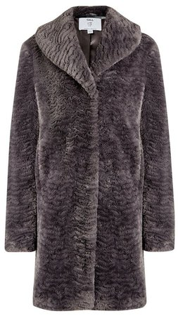 **DP Tall Grey Shawl Collar Faux Fur Coat
