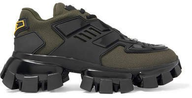 Thunder Mesh And Rubber Sneakers - Army green