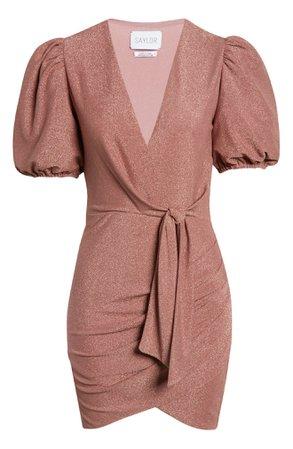 Saylor Jaine Glittering Faux Wrap Minidress | Nordstrom