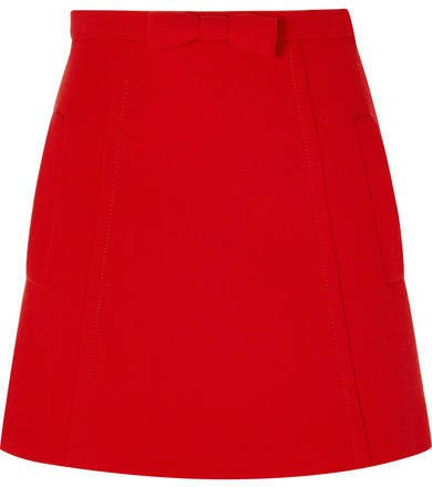 Bow-embellished Wool-crepe Mini Skirt - Red