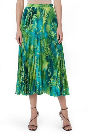 Jungle Print Pleated Midi Skirt