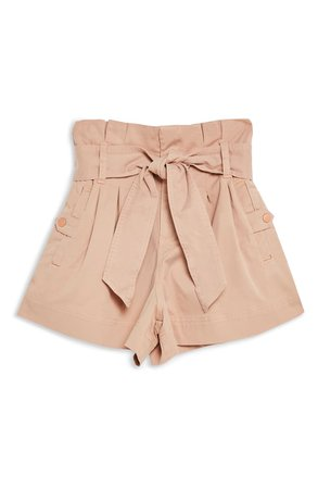Topshop Paperbag Utility Shorts Peach
