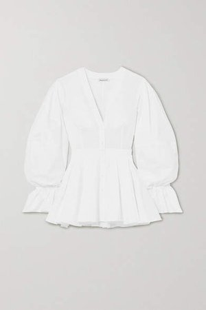 Cotton-poplin Peplum Blouse - White