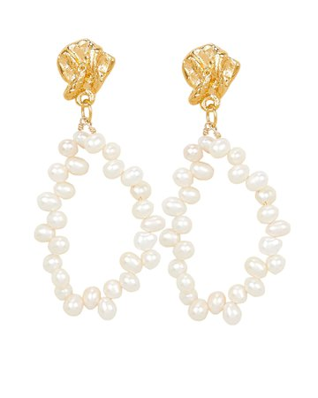 Apollo's Story Pearl Oval Earrings