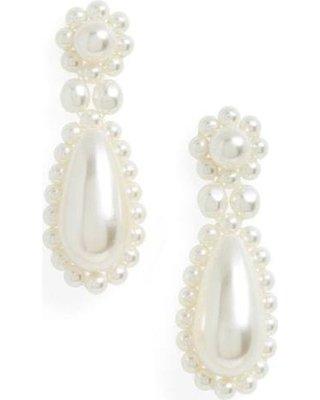 Simone Rocha Faux Pearl Drop Earrings in White