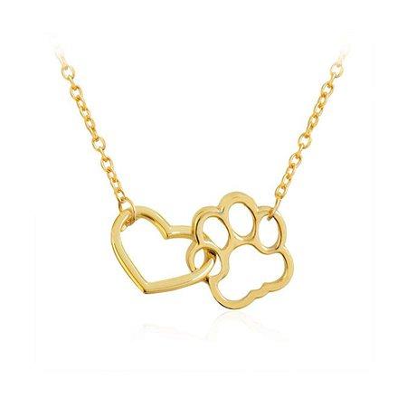 Amazon.com: MANZHEN Love Heart Cute Pet Dog Puppy Paw Print Pendant Necklace Girls Gifts (Gold): Jewelry