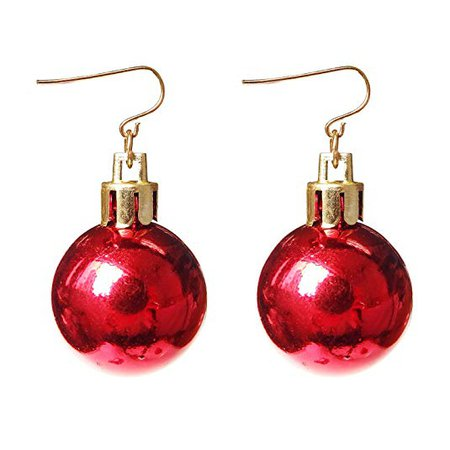 Gifts Ornament Dangle Earrings For Women Girls Christmas Red Ball Alloy RareLove: Jewelry