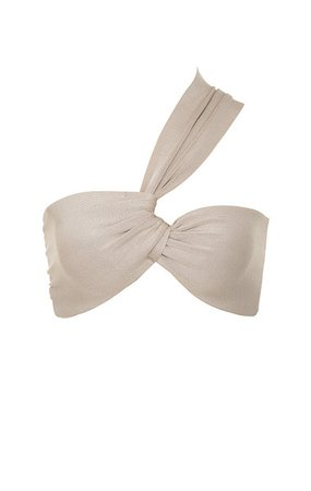 Clothing : Tops : 'Lilah' Beige Bandage Tie Front Top