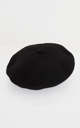 Black Felt Beret | Accessories | PrettyLittleThing