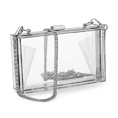 Women Acrylic Clear Clutch Transparent Crossbody Purse Evening Bag Sport Events Stadium Approved Chain Strap Silver: Handbags: Amazon.com