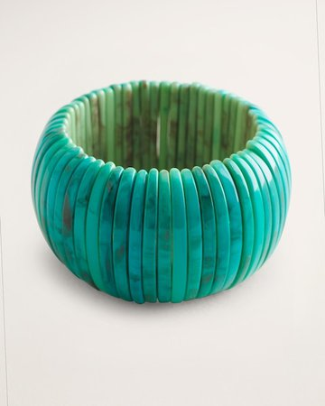 Simulated-Turquoise Wide Stretch Bracelet - Chico's