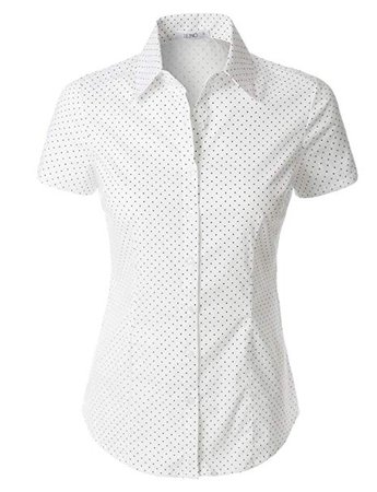 LE3NO Womens Tailored Polka Dots Button Down Shirt at Amazon Women's Clothing store