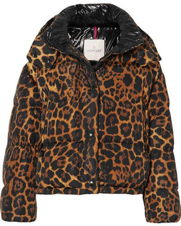 Leopard-print Quilted Shell Down Jacket - Brown