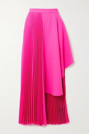 Asymmetric Pleated Neon Wool-blend Midi Skirt - Bright pink