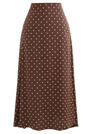 Polka Dots Midi Slip Skirt in Caramel - Retro, Indie and Unique Fashion