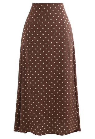 Polka Dots Midi Slip Skirt in Caramel - Retro, Indie and Unique Fashion