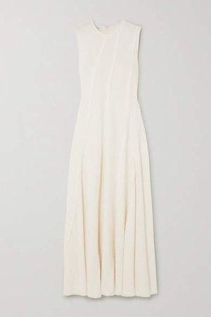 Frayed Crepe Maxi Dress - Ivory