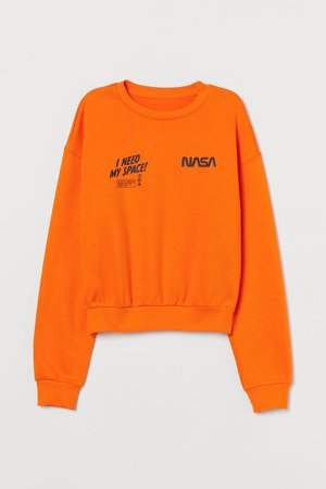 Cotton-blend Sweatshirt - Orange