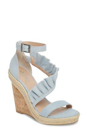 Charles By Charles David Brooke Espadrille Wedge Sandal In Light Blue Denim | ModeSens