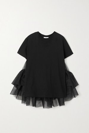 Cotton-jersey And Ruffled Tulle T-shirt - Black