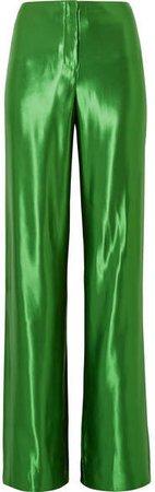 Satin Wide-leg Pants - Bright green