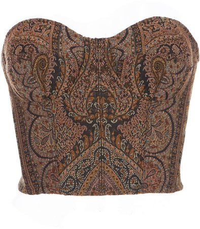 Etro Strapless Wool-Blend Paisley Bustier Top
