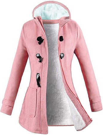 Wool Classic Pea Coat Jacket Pink