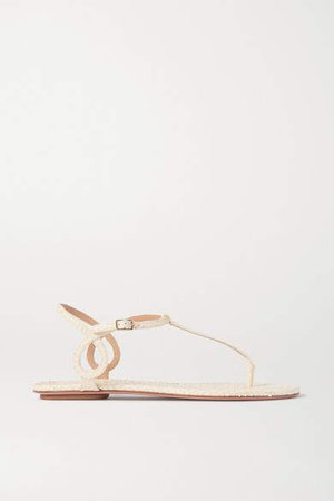 Almost Bare Snake-effect Leather Sandals - Cream