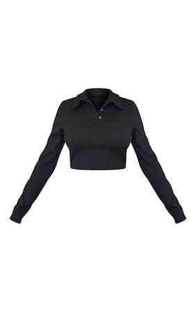 Black Rib Cropped Long Sleeve Polo Shirt | PrettyLittleThing USA